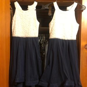 Girls high low navy and white dress